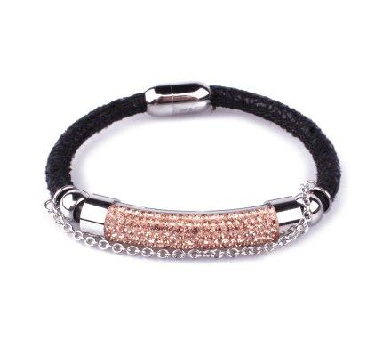 Bracelet noir tube acier argent à strass dorés rosés