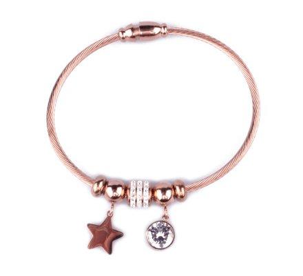 Bracelet acier cuivré perles étoile boule de strass et gros strass