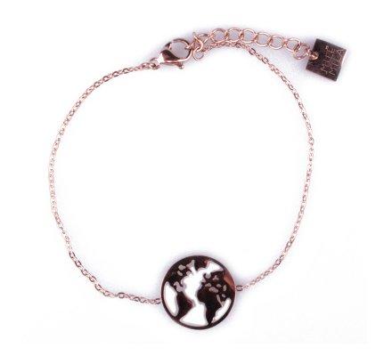 Bracelet MILE MILA Globe terrestre acier cuivré
