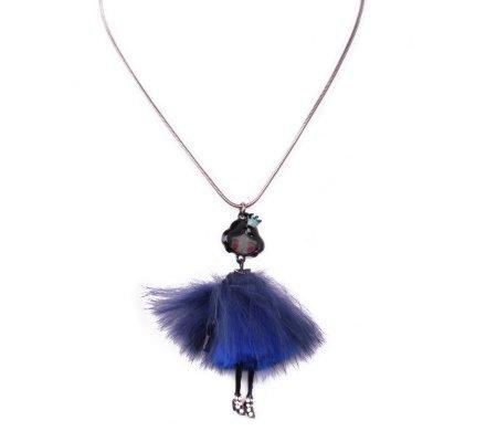 Collier Poupée princesse robe à poils bleus