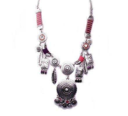 Collier Lolilota ethnique Rosaces totems et plumes ciselés tissu femme