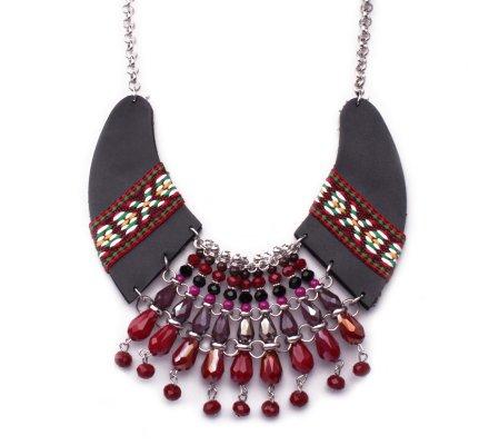Collier Lolilota Plastron ethnique Simili cuir noir et perles femme