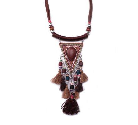 Collier Lolilota Plastron triangle ethnique marron à pompons femme