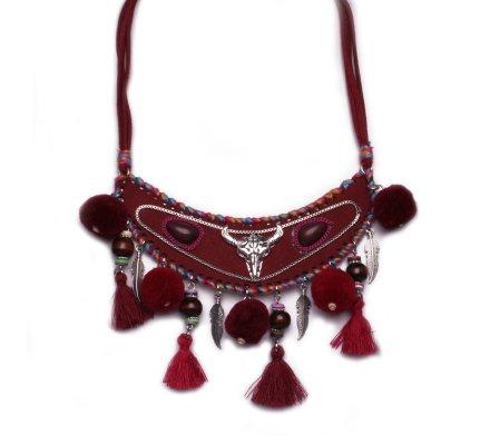 Collier Lolilota Plastron Tête de taureau et pompons rouge femme