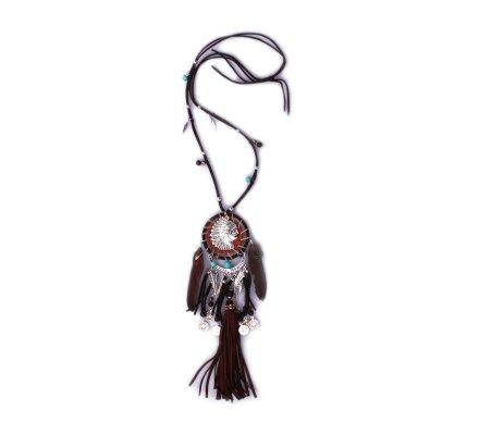 Sautoir Lolilota Capteur de rêve indien à plumes marron femme