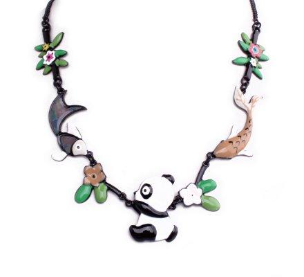 Collier Lolilota Panda et ses amis poissons beiges et blancs