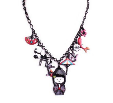 Collier Lolilota poupée Geisha au pays des pandas multicolore