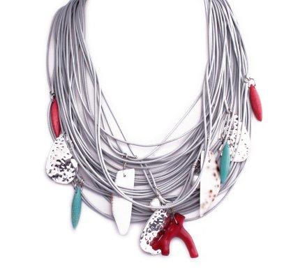 Collier Lolilota Méli mélo perles argent rouges