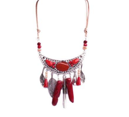 Collier Lolilota plastron argent perles et résine rouges