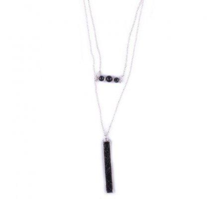 Sautoir Lolilota argent rectangle marbre noir