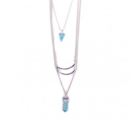 Sautoir Lolilota argent demi lune perles marbre turquoise