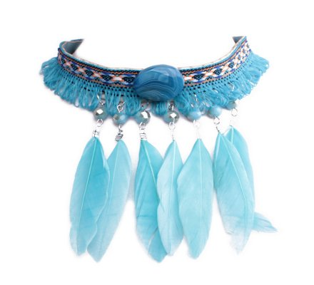 Collier Lolilota ras de cou tissu plumes bleues turquoises