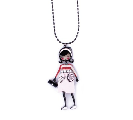 Sautoir Lolilota Poupée bandeau et robe à fleur rouge et blanc