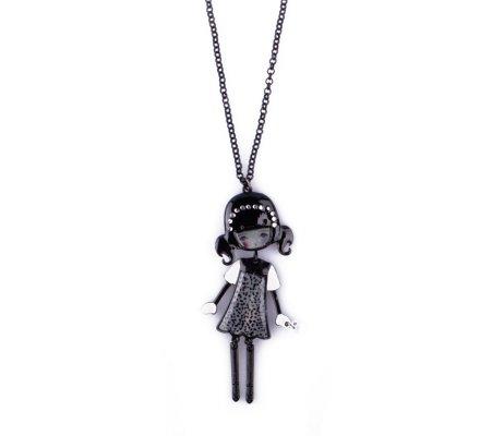 Sautoir Lolilota Poupée robe tachetée grise et noire et couronne