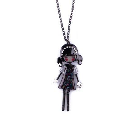 Sautoir Lolilota Poupée noire et grise robe happiness multicolore