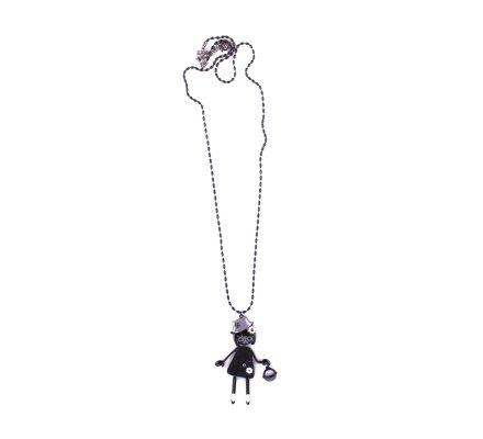 Sautoir Lolilota Poupée à chapeau robe noire à fleurs et panier gris