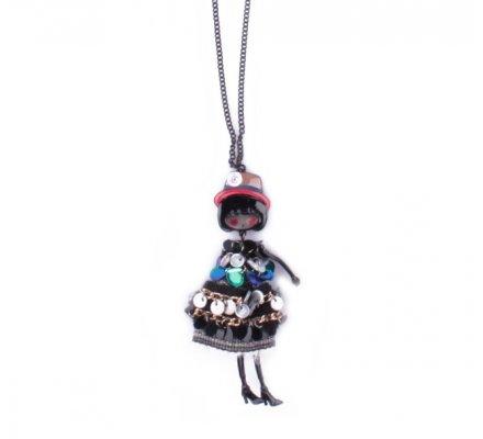 Sautoir Lolilota Poupée robe noire à pastilles grises noires et bleues