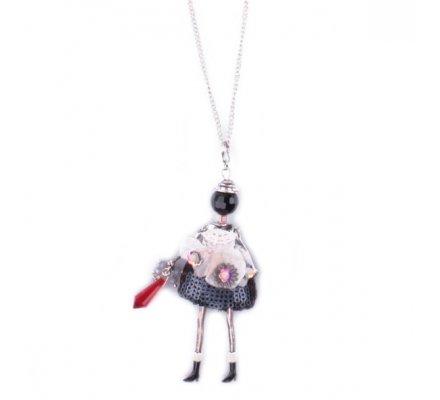 Sautoir Lolilota Poupée robe grise à sequins fleurs perle rouge