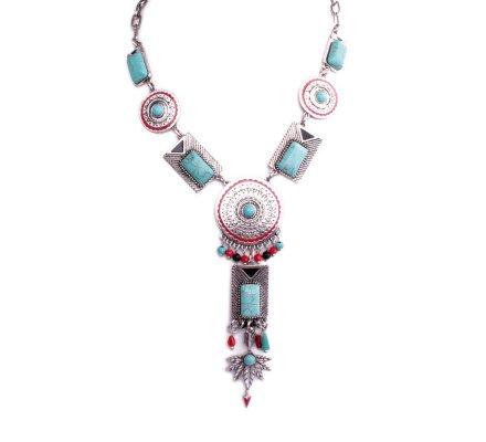 Collier Lolilota ethnique Gongs argent et rouges perles marbre bleues