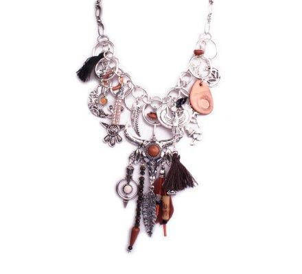 Collier Lolilota ethnique Taureau aigle plume pompon maya marron