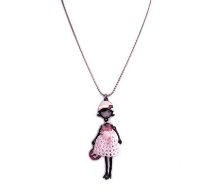 Collier Lolilota poupée béret rose fleuri et robe rose à fleur blanche