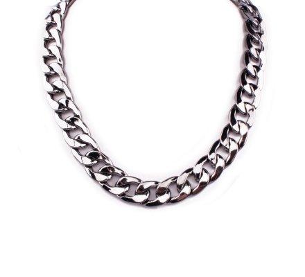 Collier chaîne métal gris metallisé