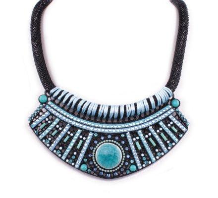 Collier plastron noir et bleu turquoise Hypnotika