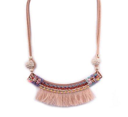 Collier Lolilota Arc perles et strass franges camel