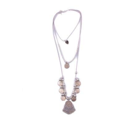 Sautoir Lolilota ethnique argent et gris coeur du trésor
