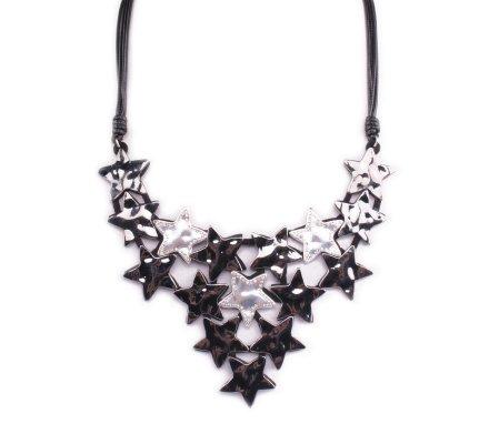Collier Plastron d'étoiles gris anthracite argent et strass