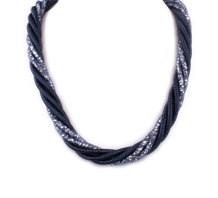 Collier Torsades perles et strass bleu