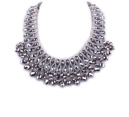 Collier Plastron argent perles Cleopatre
