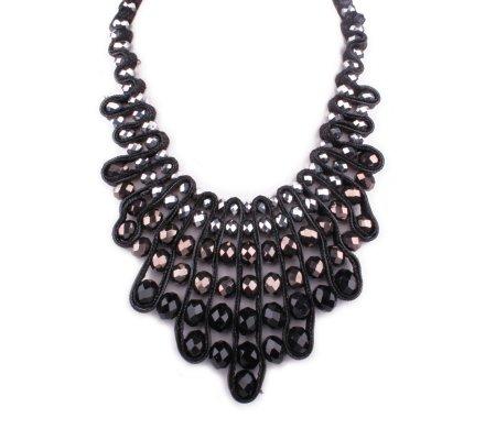 Collier Plastron noir argent  marron perles Pyramido