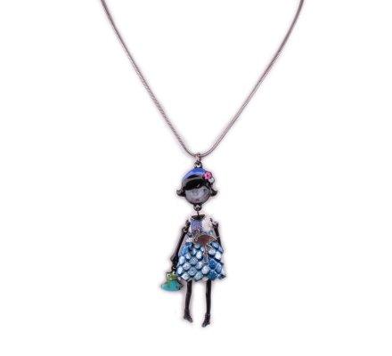Collier Poupée LOL Robe écailles brillantes bleue et flamant rose