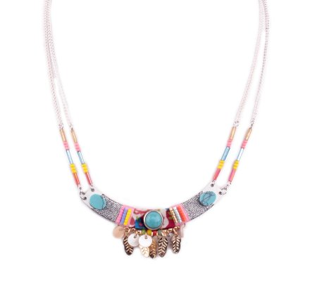 Collier LOL bohème Arc argent et multicolore pierres turquoises et plumes