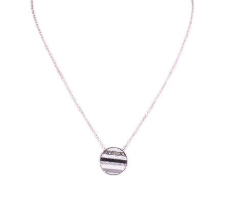 Collier acier argent MYLE MYLA médaillon rayé pailleté noir gris argent blanc