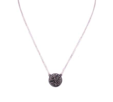 Collier acier argent MYLE MYLA médaillon de strass gris anthracite