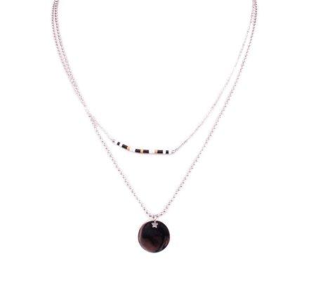 Collier acier argent MYLE MYLA médaillon étoilé et perles noires blanches dorées