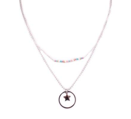 Collier acier argent MYLE MYLA étoile cerclée perles multicolores