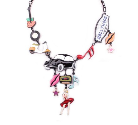 Collier LOL Marylin Hollywood voiture noire multicolore