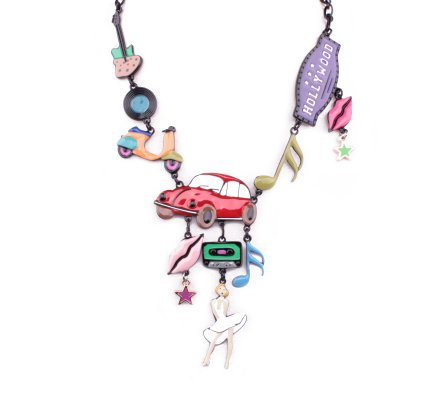 Collier LOL Marylin Hollywood voiture rouge multicolore