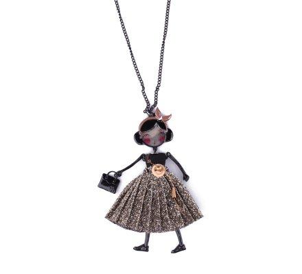 Sautoir Poupée LOL robe noire pailletée dorée et bandeau nœud