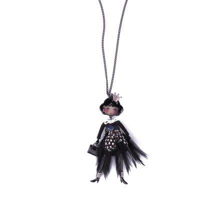 Sautoir Poupée LOL princesse robe noire plumes tachetées blanches