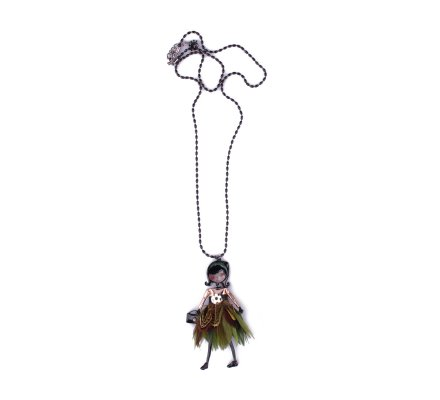 Sautoir Poupée LOL robe à plumes vertes et ceinture fleurie