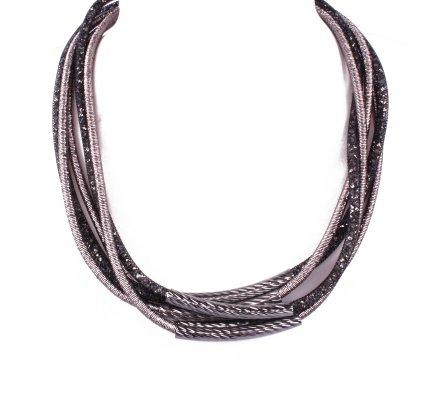 Collier strass noir et gris Tubix