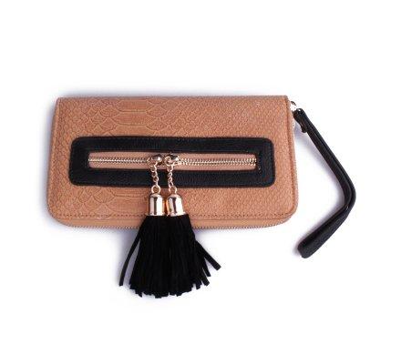 Portefeuille pochette camel croco pompons noirs