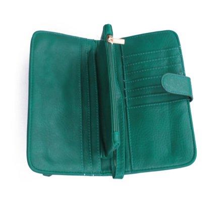 Portefeuille vert simili cuir Zip