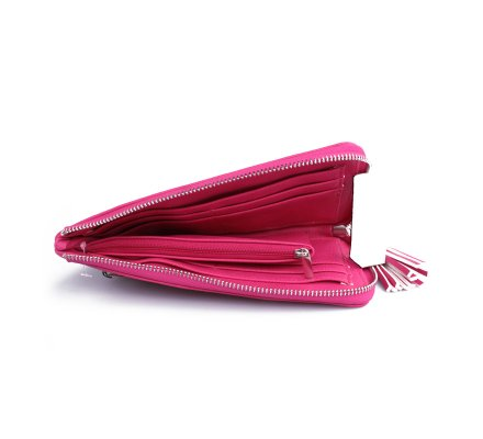 Portefeuille rose à clous carrés argent