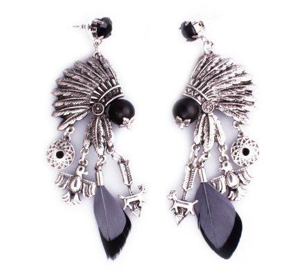 Boucles d'oreilles Lolilota Coiffe indienne argent perles et plumes