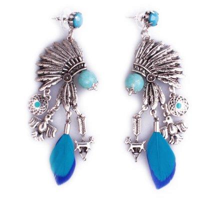 Boucles d'oreilles Lolilota Coiffe indienne argent perles femme